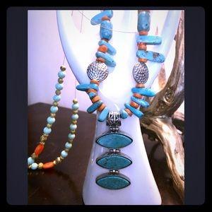 Jewelry - RADIANT TURQUOISE ORANGE NATIVE AMERICAN NECKLACE